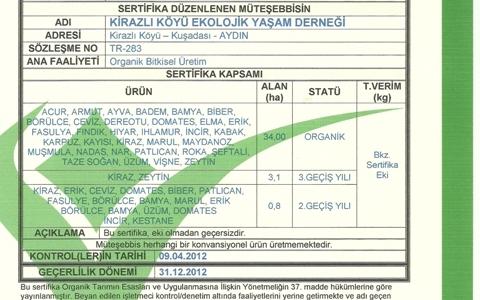 2012 Organik Tarım Sertifikası